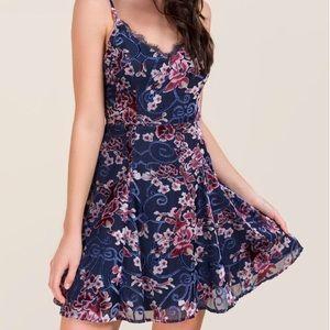 Francesca's velvet floral dress small flared